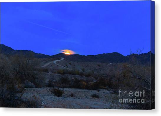 Wolf Moon Canvas Print - The Rising Wolf Moon by Robert Bales