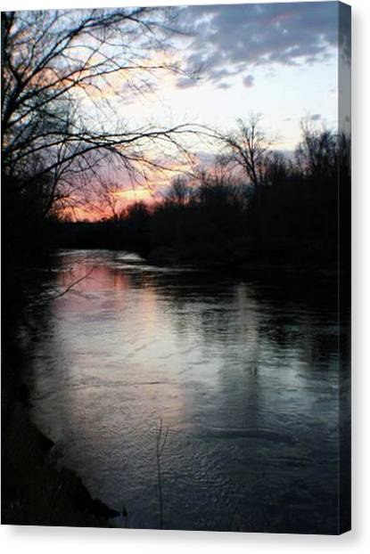 The River At Sunset Canvas Print