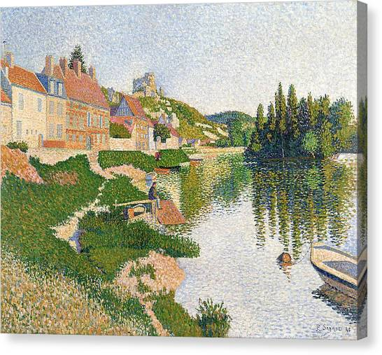 Pointillism Canvas Print - The River Bank by Paul Signac