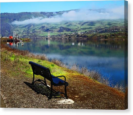 The River Bench Canvas Print