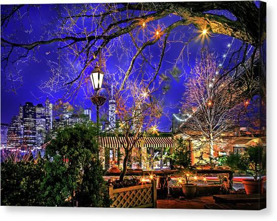 Brooklyn Bridge Canvas Print - The River Cafe by Az Jackson
