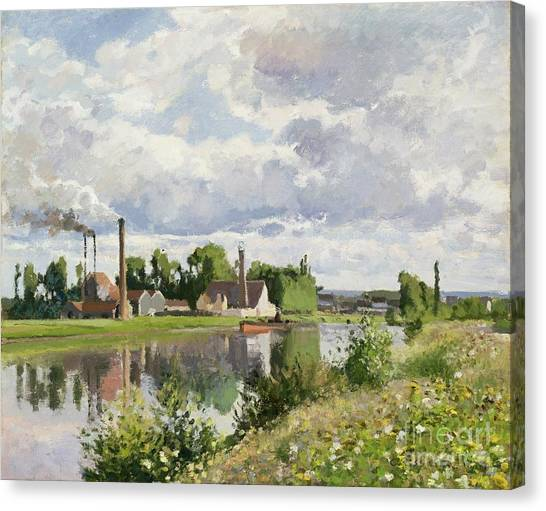 Camille Canvas Print - The River Oise Near Pontoise by Camille Pissarro