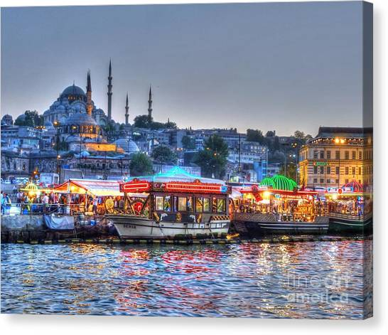 City Sunsets Canvas Print - The Riverboats Of Istanbul by Michael Garyet