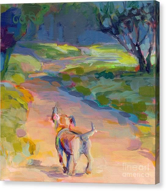Mixed Breed Canvas Print - The Road Ahead by Kimberly Santini
