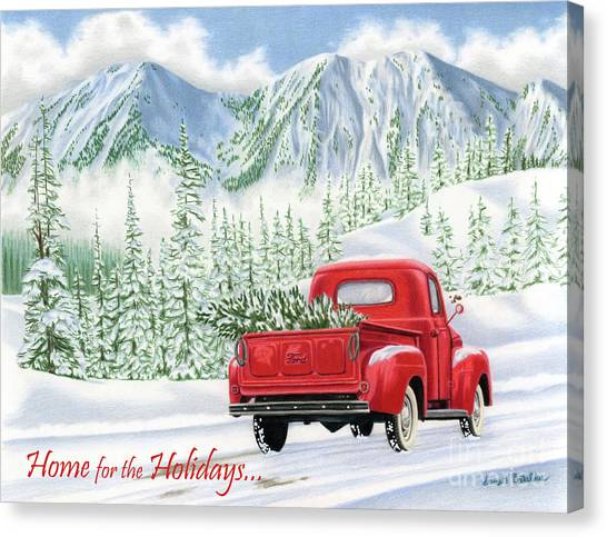 Ford Truck Canvas Print - The Road Home- Home For The Holidays Cards by Sarah Batalka