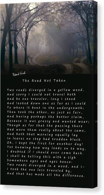 Decisions Canvas Print - The Road Not Taken Poem By Robert Frost by Daniel Hagerman
