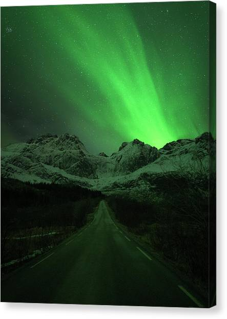 Aurora Borealis Canvas Print - The Road To Nusfjord by Tor-Ivar Naess