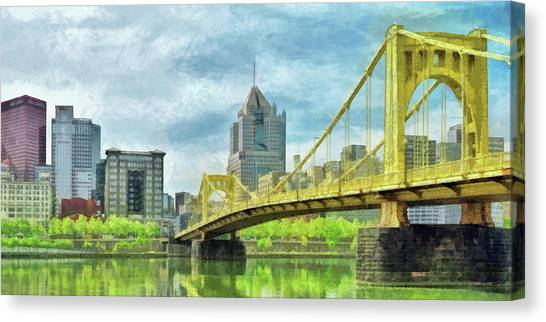 Canvas Print featuring the digital art The Roberto Clemente Bridge In Pittsburgh by Digital Photographic Arts