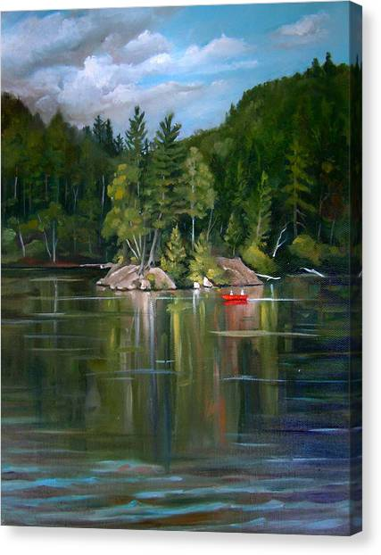 The Rock On Mirror In Woodstock New Hampshire Canvas Print