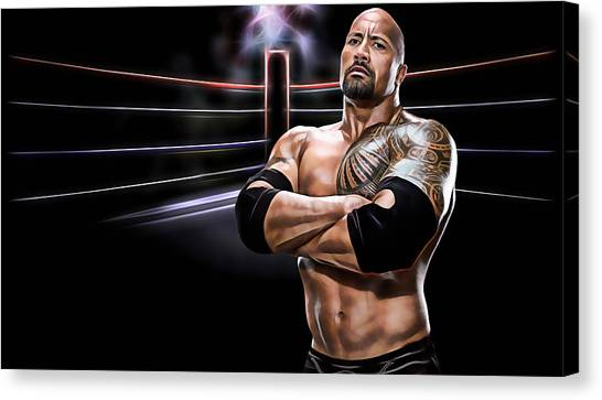 Dwayne Johnson Canvas Print - The Rock Wrestling Collection by Marvin Blaine