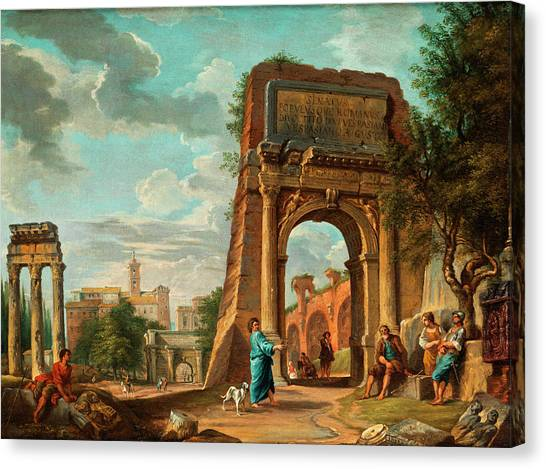 The Forum Canvas Print - The Roman Forum by Giovanni Paolo Panini
