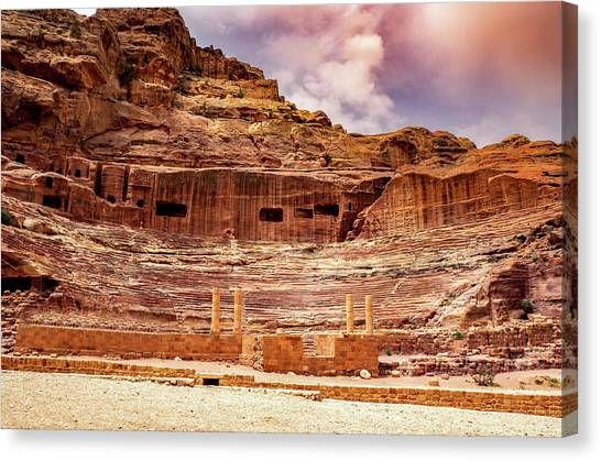The Roman Theater At Petra Canvas Print