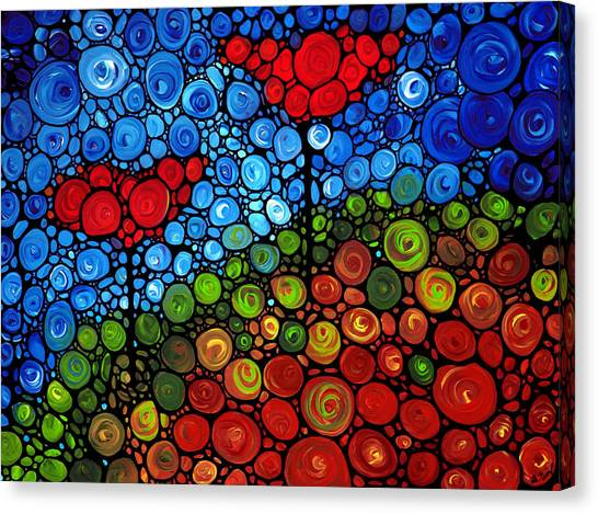 Abstract Flower Canvas Print - The Roots Of Love Run Deep by Sharon Cummings