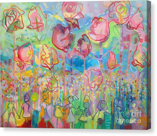 Rose Canvas Print - The Rose Garden, Love Wins by Kimberly Santini