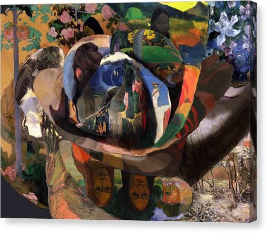 Canvas Print featuring the digital art The Rose Of Gauguin by David Bridburg