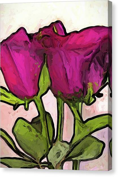 The Roses With The Green Stems And Leaves Canvas Print
