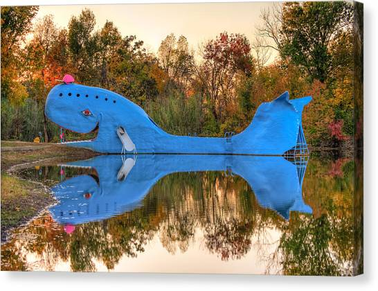 Blue Whales Canvas Print - The Route 66 Blue Whale - Catoosa Oklahoma by Gregory Ballos