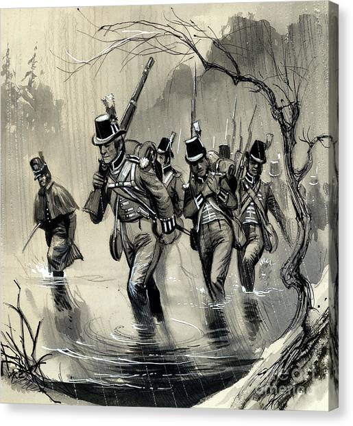 Royal Marines Canvas Print - The Royal Marines Fighting The Americans In The Great Lakes In The War With The United States by English School