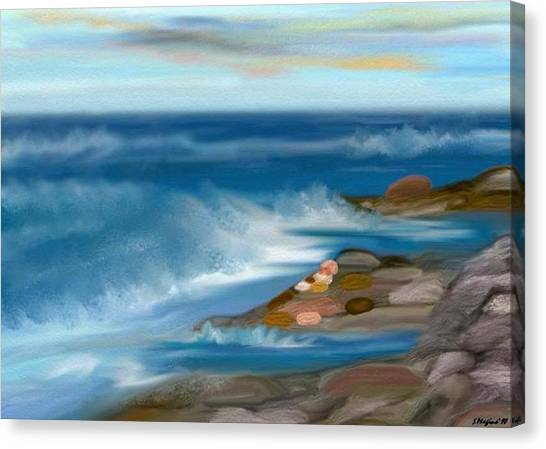 The Rush Of The Water Canvas Print by Sher Magins