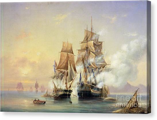 Mercury Canvas Print - The Russian Cutter Mercury Captures The Swedish Frigate Venus On 21st May 1789 by Aleksei Petrovich Bogolyubov