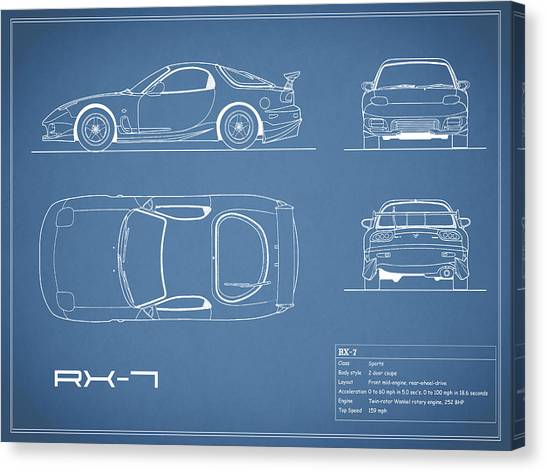 Car blueprint canvas prints page 2 of 25 pixels car blueprint canvas print the rx 7 blueprint by mark rogan malvernweather Gallery