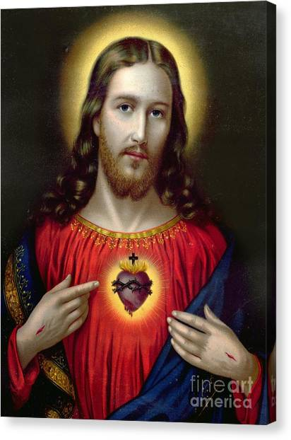 Religious Canvas Print - The Sacred Heart Of Jesus by English School