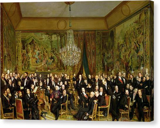 The Louvre Canvas Print - The Salon Of Alfred Emilien At The Louvre by Francois Auguste Biard