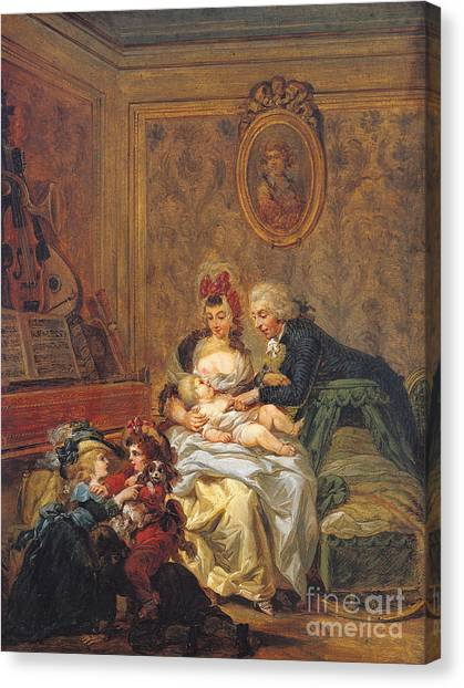 Nursing Canvas Print - The Satisfaction Of Marriage Or, The Happy Family by Francois Louis Joseph Watteau