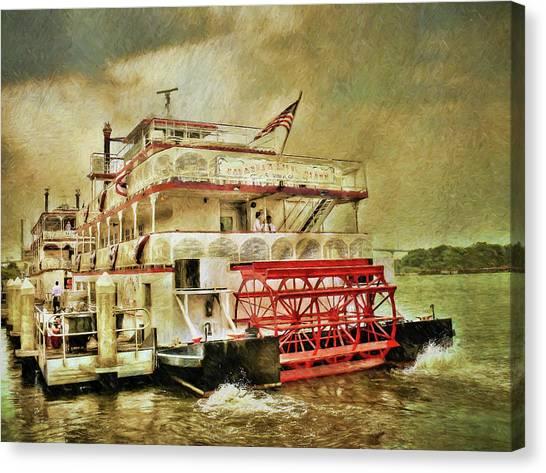 John Adams Canvas Print - The Savannah River Queen by John Adams