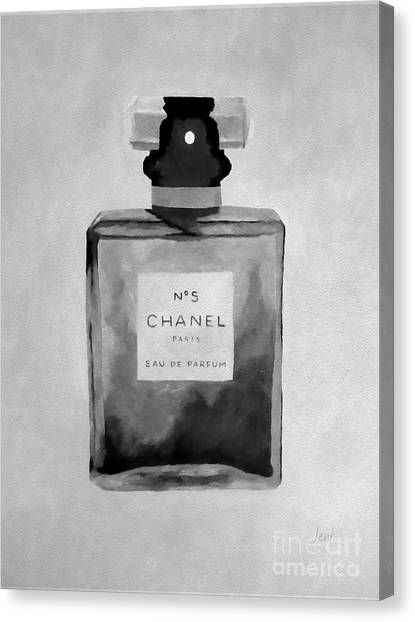 Chanel Canvas Print - The Scent Black And White by Rebecca Jenkins