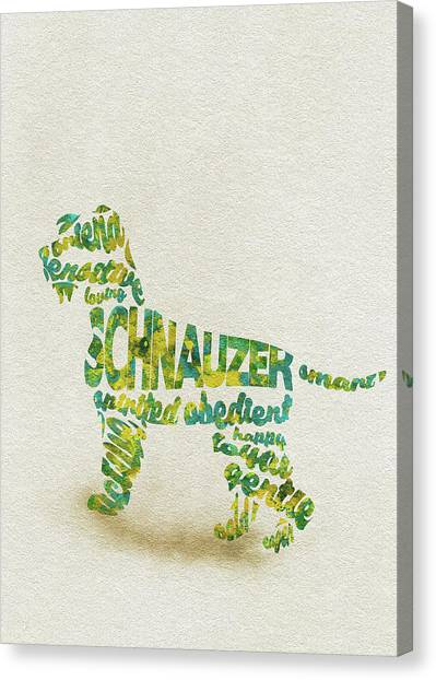 Watercolor Pet Portraits Canvas Print - The Schnauzer Dog Watercolor Painting / Typographic Art by Inspirowl Design