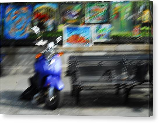 The Scooter Is Blue Canvas Print by Wayne Archer