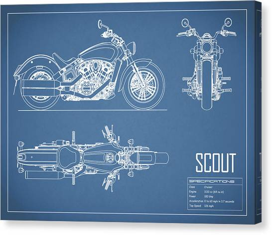 Scouting Canvas Print - The Scout Motorcycle Blueprint by Mark Rogan