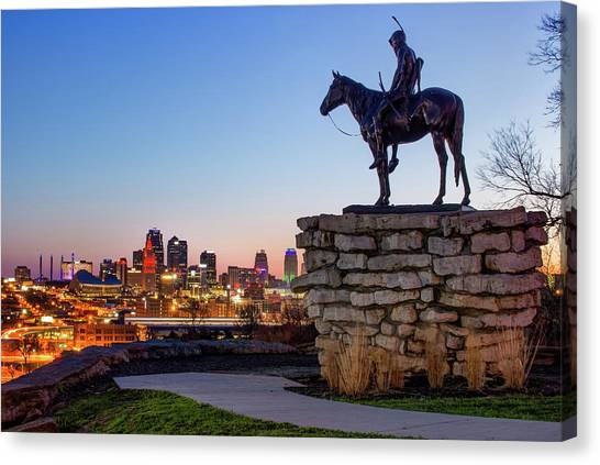 The Scout Overlooking The Kansas City Skyline Canvas Print