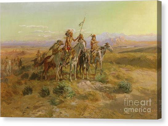 Scouting Canvas Print - The Scouts by Charles Marion Russell