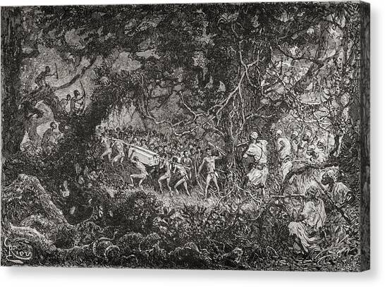 Pigmy Canvas Print - The Scouts On Sir Henry Morton Stanley by Vintage Design Pics