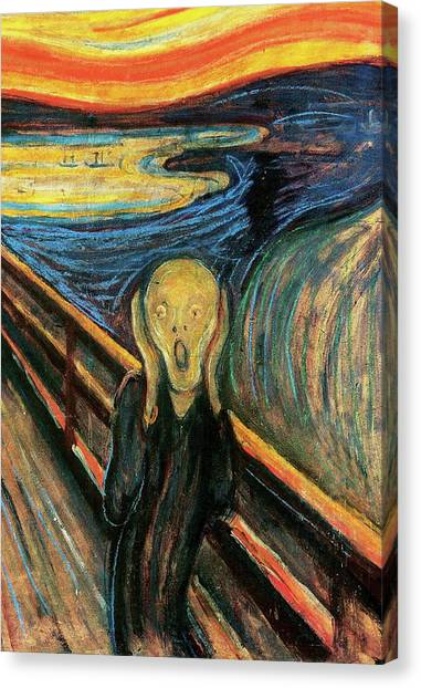 The Scream Flame Tree Edition Canvas Print by Edvard Munch