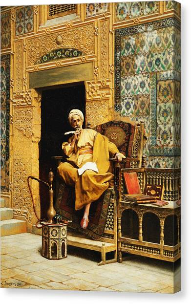 Academic Art Canvas Print - The Scribe by Ludwig Deutsch
