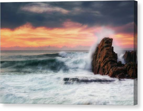 The Sea Against The Rock Canvas Print