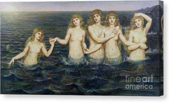 Sexuality Canvas Print - The Sea Maidens by Evelyn De Morgan