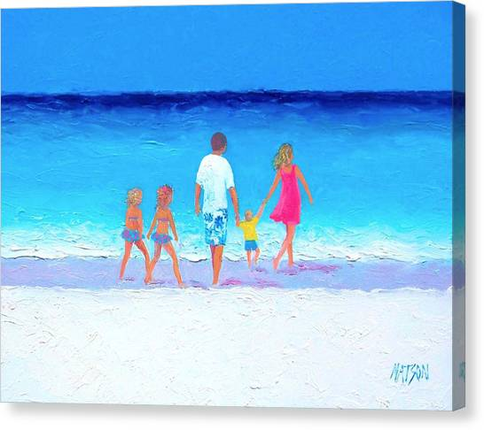 People Walking On Beach Canvas Print - The Seaside Holiday - Beach Painting by Jan Matson