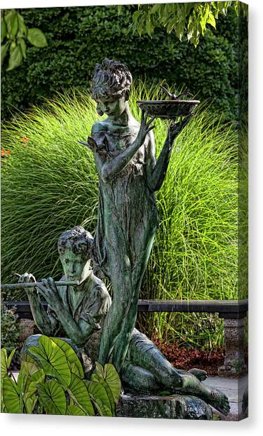 The Secret Garden Memorial Statue And Bird Bath Canvas Print