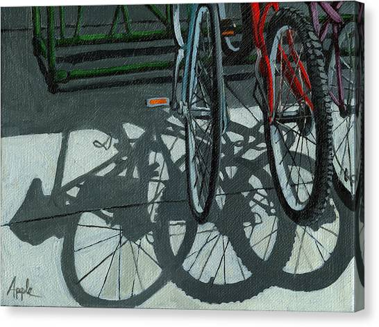 The Secret Meeting - Bicycle Shadows Canvas Print by Linda Apple