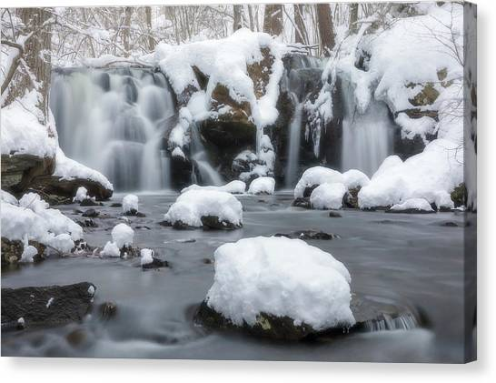 The Secret Waterfall In Winter 1 Canvas Print