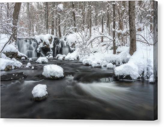 The Secret Waterfall In Winter 2 Canvas Print