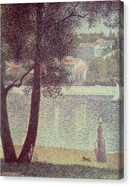 Pointillism Canvas Print - The Seine At Courbevoie by Georges Pierre Seurat