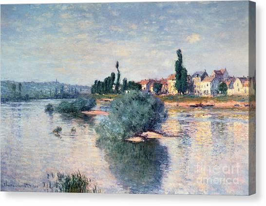 Marsh Grass Canvas Print - The Seine At Lavacourt by Claude Monet