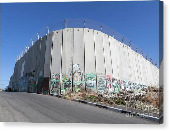 The Separation Wall In Bethlehem, Palestine Canvas Print by Roberto Morgenthaler