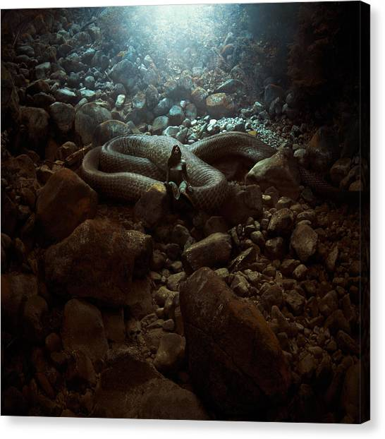 Fantasy Cave Canvas Print - The Serpent's Lair by Michal Karcz