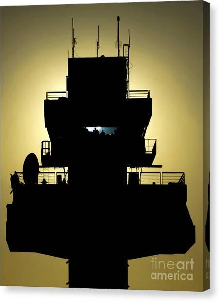 Air Traffic Control Canvas Print - The Setting Sun Silhouettes An Air by Stocktrek Images